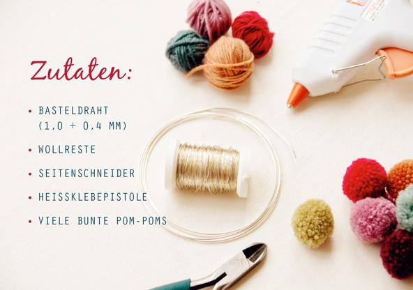 Material-Liste für Pom-Pom-Blümchen