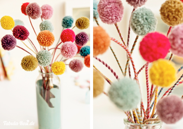 Pom-pom-flowers collage