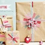 Geschenkverpackung aus Packpapier und Washi Tape