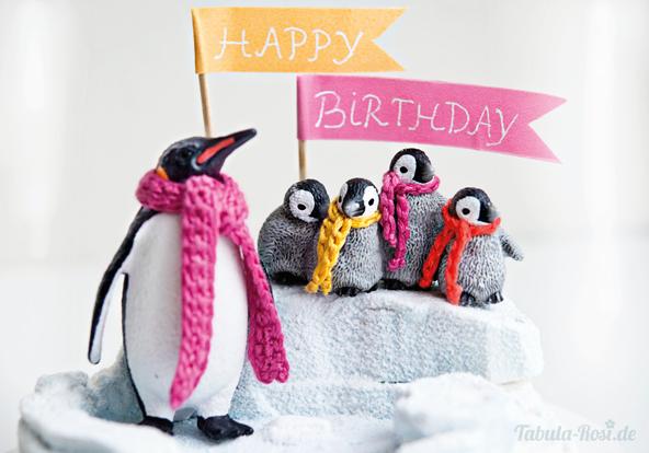 Winterlandschaft mit Pinguinen Ausschnitt