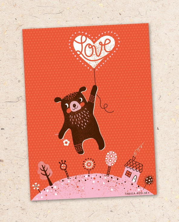 valentines card with baer illustration